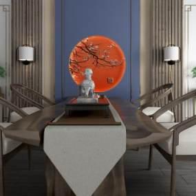 新中式休闲泡茶桌椅背景墙组合 3D模型【ID:841305907】