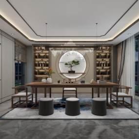 新中式茶室3D模型【ID:647985113】