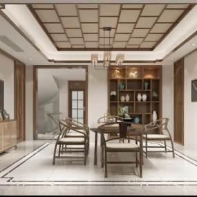 新中式别墅茶室3D模型【ID:644284157】