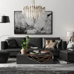 后现代沙发茶几吊灯组合3D模型【ID:645670712】