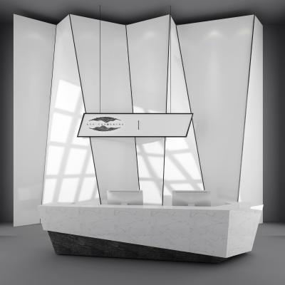 现代办公前台接待台服务台背景墙3D模型【ID:930591501】