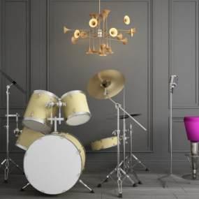 现代乐器架子鼓麦克风喇叭吊灯组合3D模型【ID:343248992】