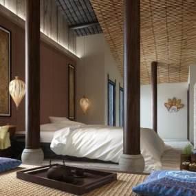 新中式民宿客房3D模型【ID:733598395】