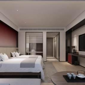 新中式酒店客房3D模型【ID:744382304】