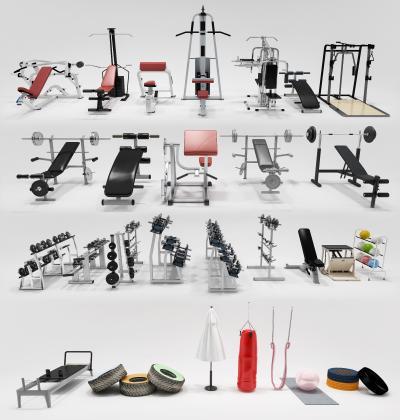 现代健身房器械3D模型【ID:446533436】