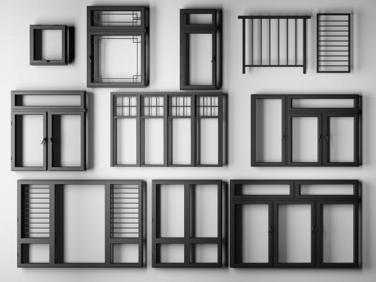 現代烤漆鋁合金門窗戶欄桿3D模型【ID:330459252】