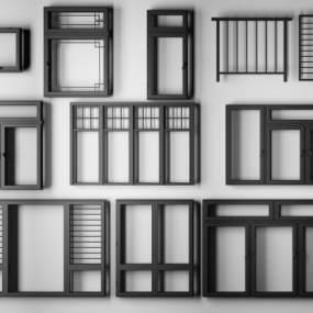 现代烤漆铝合金门窗户栏杆3D模型【ID:330459252】