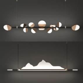 新中式吊燈組合3D模型【ID:748985820】