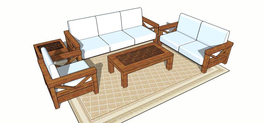 中式桌椅SU模型【ID:649176049】