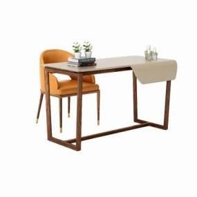 現代輕奢實木書桌椅3D模型【ID:950343049】