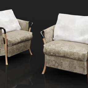 现代木材绒布沙发3D模型【ID:635669464】