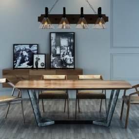 现代实木桌椅边柜吊灯组合3D模型【ID:830427913】