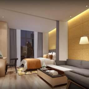 �F代�L格酒店客房3D模型【ID:743288395】