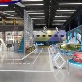 工業風飛機航天展廳展館3D模型【ID:953556707】