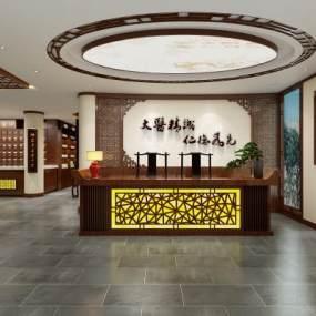 新中式風格醫館3D模型【ID:946943799】