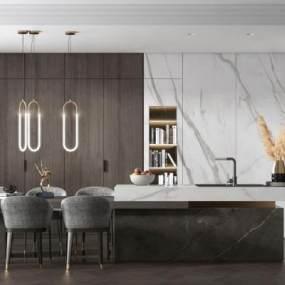 現代多功能家居別墅餐廳3D模型【ID:543429192】