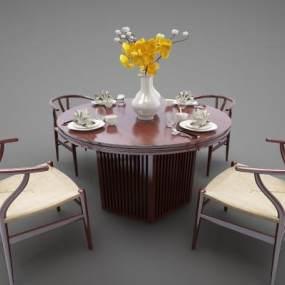 新中式风格餐桌3D模型【ID:844531834】