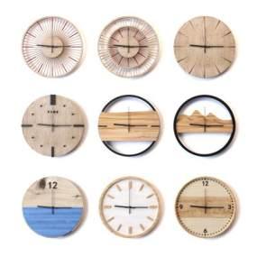 現代北歐原木壁鐘墻飾3D模型【ID:343875338】