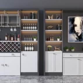 現代實木酒柜組合3D模型【ID:653019286】
