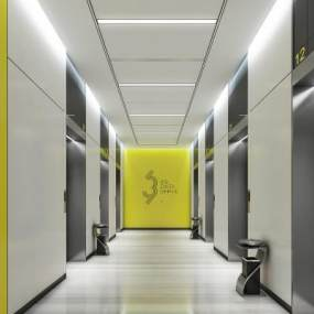 现代办公电梯厅 3D模型【ID:942330236】