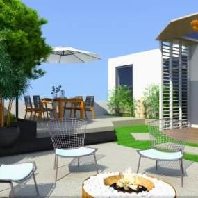 现代屋顶花园3D模型【ID:735515897】