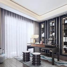 新中式书房3D模型【ID:552822414】