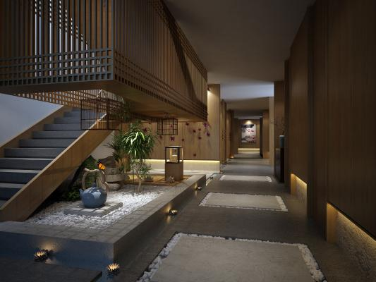新中式过道走廊3D模型【ID:945769556】