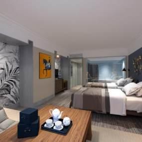 现代酒店客房3D模型【ID:753373336】