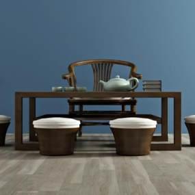 新中式茶几椅3D模型【ID:631956892】