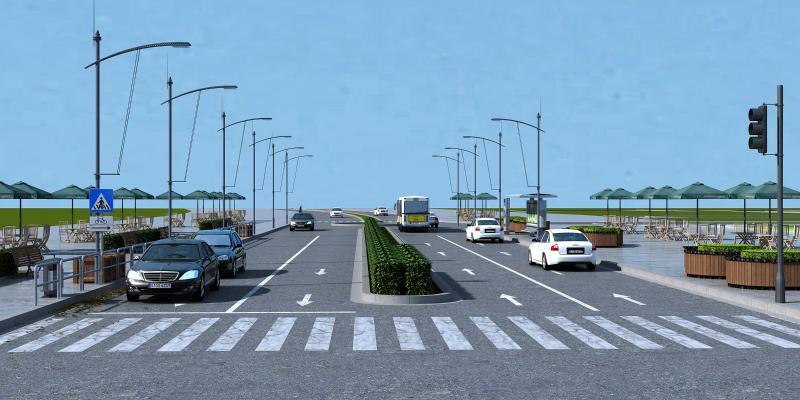 现代道路绿化3D模型【ID:143995954】