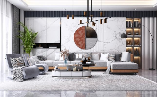 现代轻奢客厅 布艺转角沙发 茶几 金属吊灯