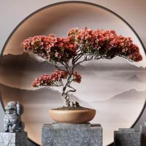 新中式盆景3D模型【ID:247980802】