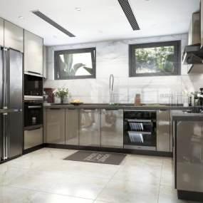 现代风格厨房3D模型【ID:545630317】