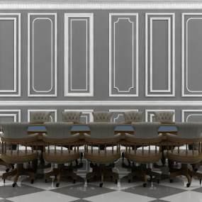 欧式休闲会议桌椅组合3D模型【ID:830953908】