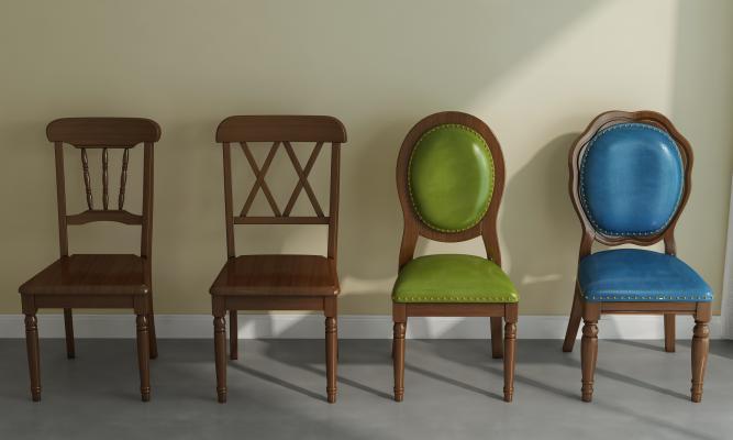 美式深色实木座椅组合3D模型【ID:750189103】