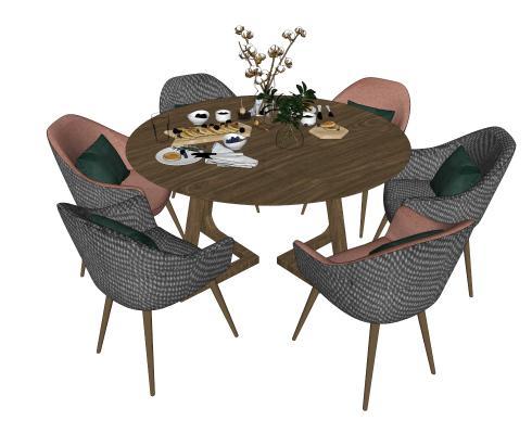 北欧餐桌椅组合SU模型【ID:644375680】