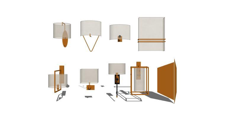 现代中式壁灯组合1SU模型【ID:347731942】