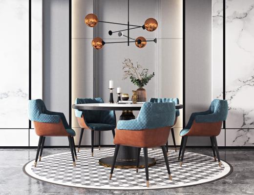 现代餐桌椅组合3D模型【ID:750228105】
