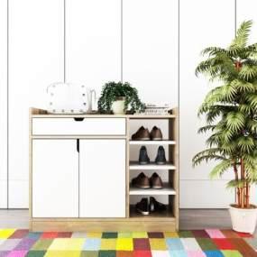 北欧实木鞋柜3D模型【ID:133804252】