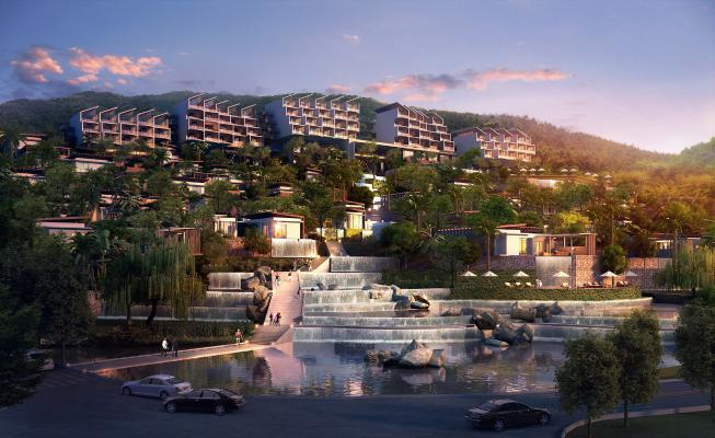 现代酒店水景曲折景观3D模型【ID:142056623】