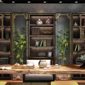 新中式茶室书房3D模型【ID:632753102】