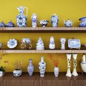 新中式青花瓷陶瓷装饰摆件3D模型【ID:234745596】