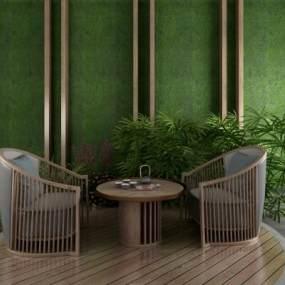 现代休闲桌椅 3D模型【ID:840817901】