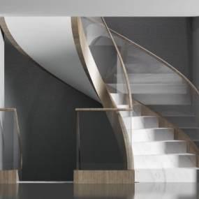 现代旋转楼梯3D模型【ID:345778578】