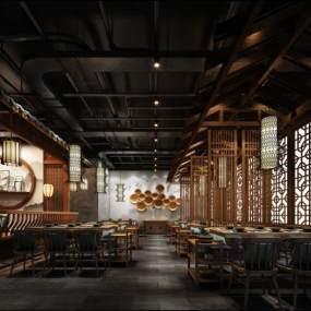 中式餐厅3D模型【ID:653218289】