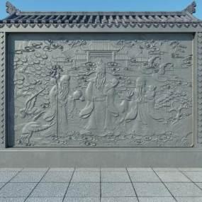 中式福禄寿景墙3D模型【ID:132951478】