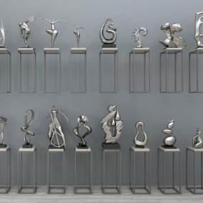 现代带底座雕塑组合3D模型【ID:330915188】