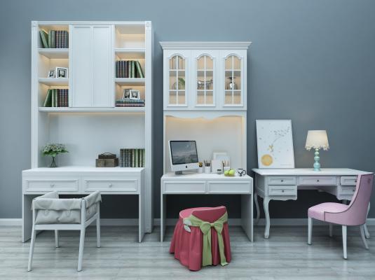 欧式简约儿童书桌椅组合3D模型【ID:935767387】