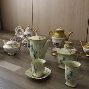 欧式简约茶具茶杯陶瓷水壶3D模型【ID:232002505】
