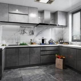 現代風格廚房3D模型【ID:552143338】